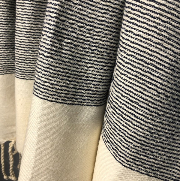 black striped turkish towel close up