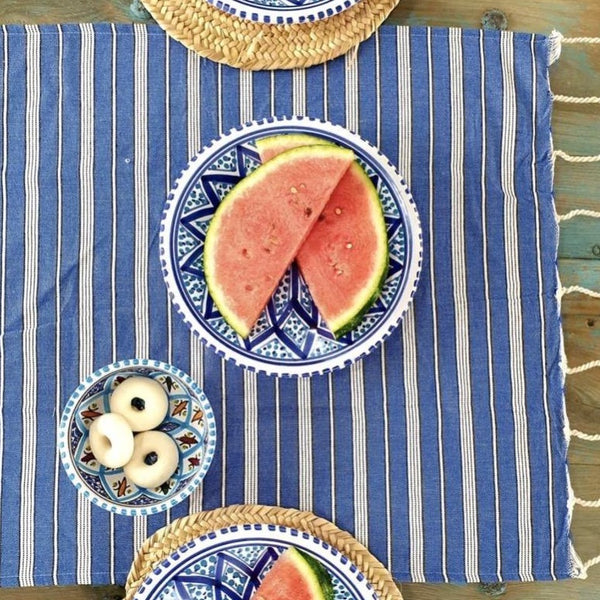 turkish blue towel navy picnic beach