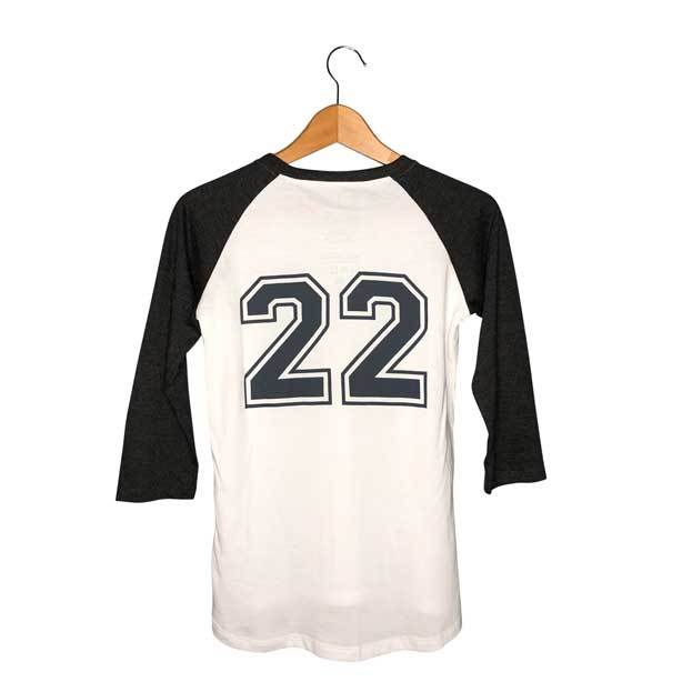 Womens Baseball Tee | Catch 22 Back Graphic on Hanger