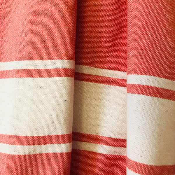 coral turkish towel close up view