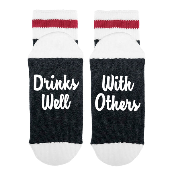 Women's socks - drinks well with others message