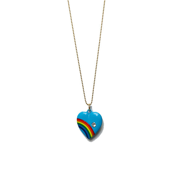 Blue Enamel Heart Necklace with Rainbow