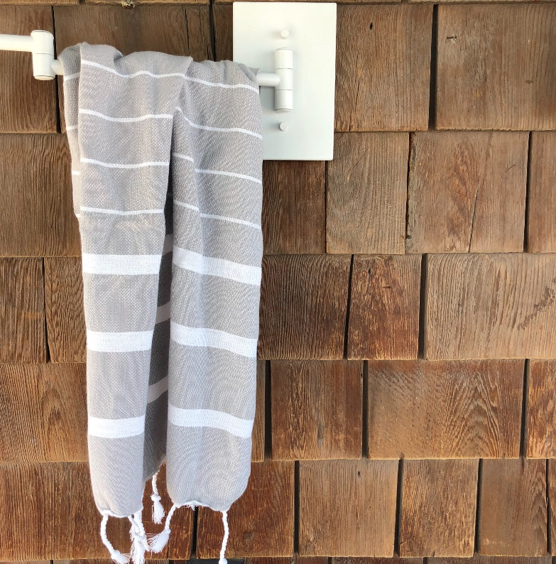 gray Turkish fouta bathroom kitchen towel