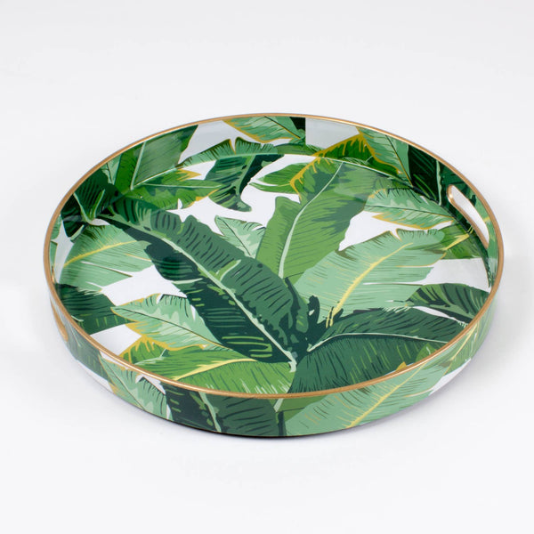 green leaves round tray