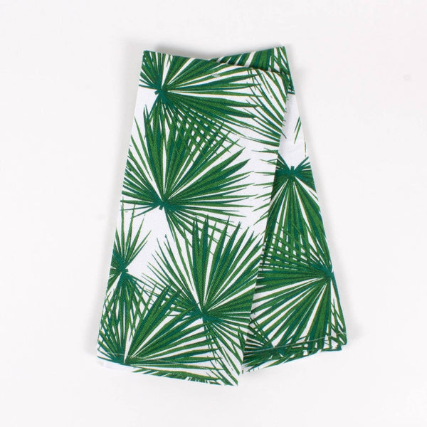 palm print green kitchen towels