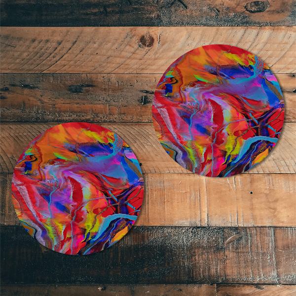 "Marbleized Rainbow Melamine 8"" Plates 