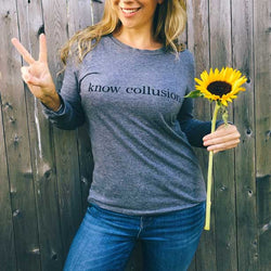 Womens Political Long Sleeve Graphic Tee | Know Collusion graphic
