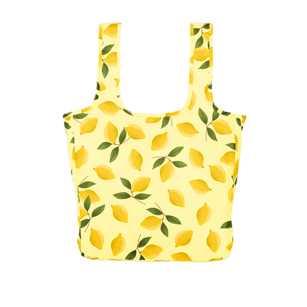 lemon print nylon  tote bag