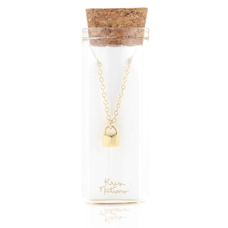 gold padlock necklace gift