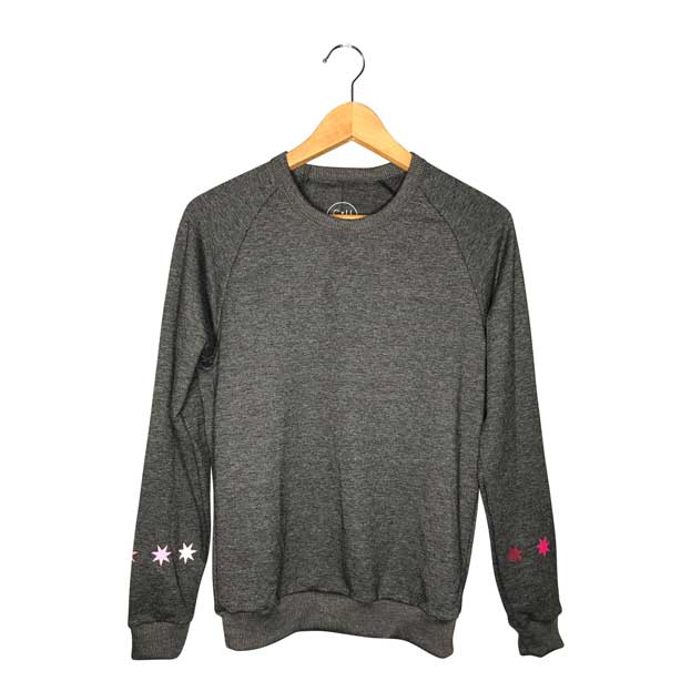 Women's Graphic Sweatshirt with Pink Star Design on Wrists
