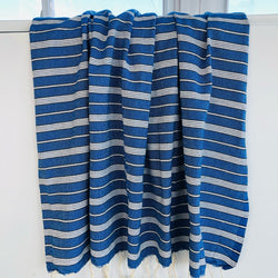 royal blue turkish towel with stripes