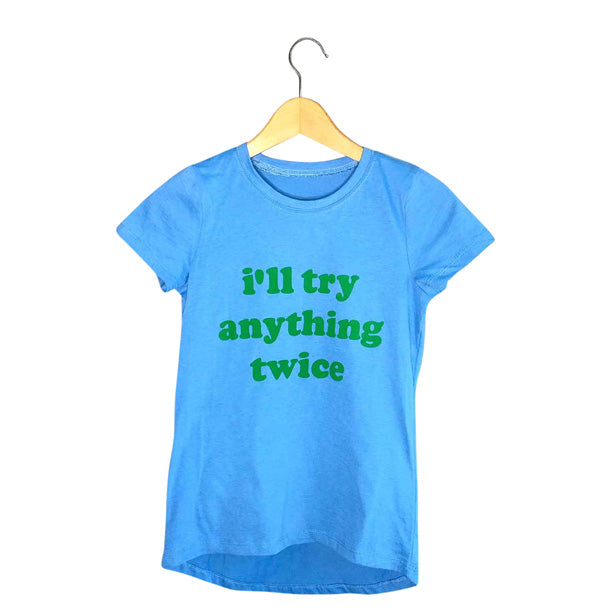 Women's Blue Graphic Tee | Vintage I'll Try Anything Twice Graphic