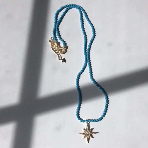 Star Necklace with Turquoise Beads