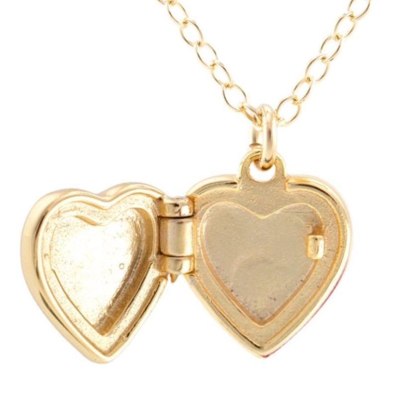 Heart Locket Necklace | White Enamel