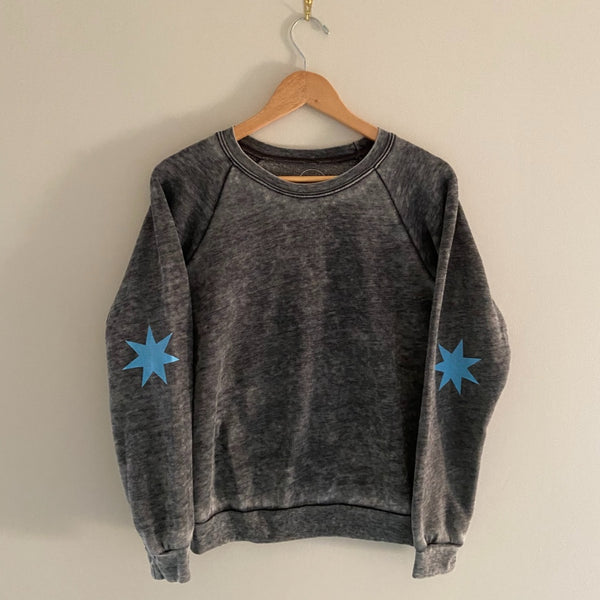 womens burnout sweatshirt with stars