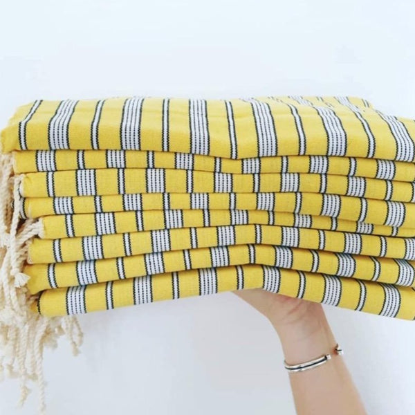 lemon yellow stripe turkish fouta beach picnic