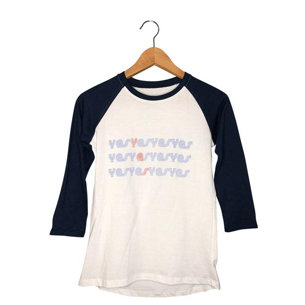 Womens Baseball tee with navy sleeves| yes yes yes graphic