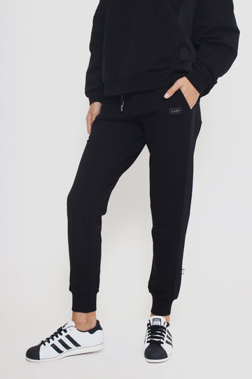 LAZY 1.0 Sweat Pants Black-Bottoms-Christina Dienst