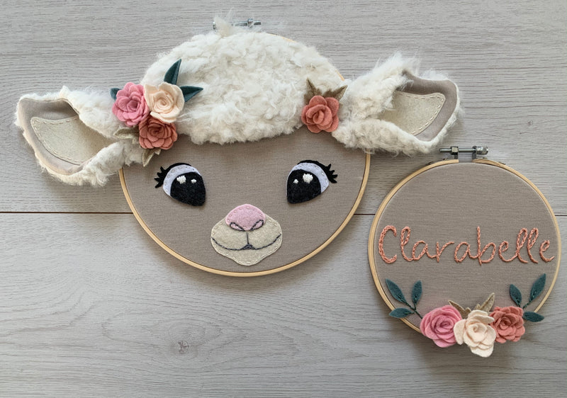 Clarabelle sheep embroidered hoops