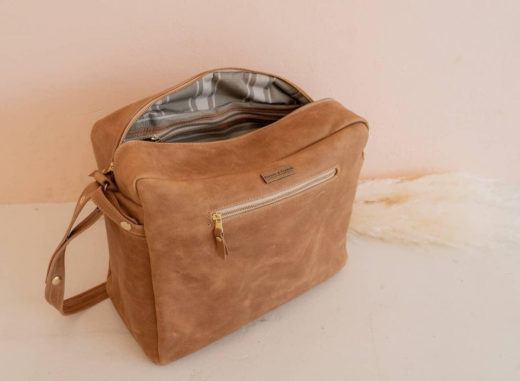 Leather diaper bag (made to order)
