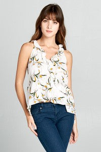 Bubble Crepe Flower Printed Sleeveless Wrap Top with Side Tie String and Ruffled Detail