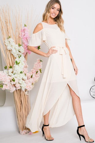 Solid Cold-Shoulder Ruffle Sleeve Keyhole Back Maxi Dress