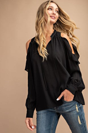 Ruffle Cold Shoulder Long Sleeve Top