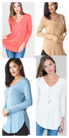 Long Sleeved V-Neck Basic Tee