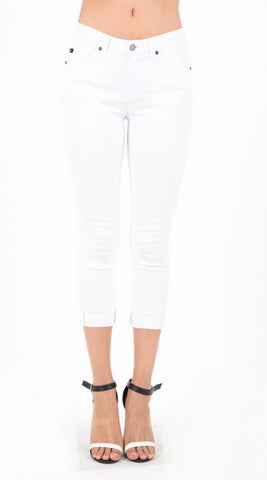 Kan Can White Capri folded hem