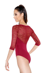 So Danca Adult Lace 3/4 Sleeve Leotard