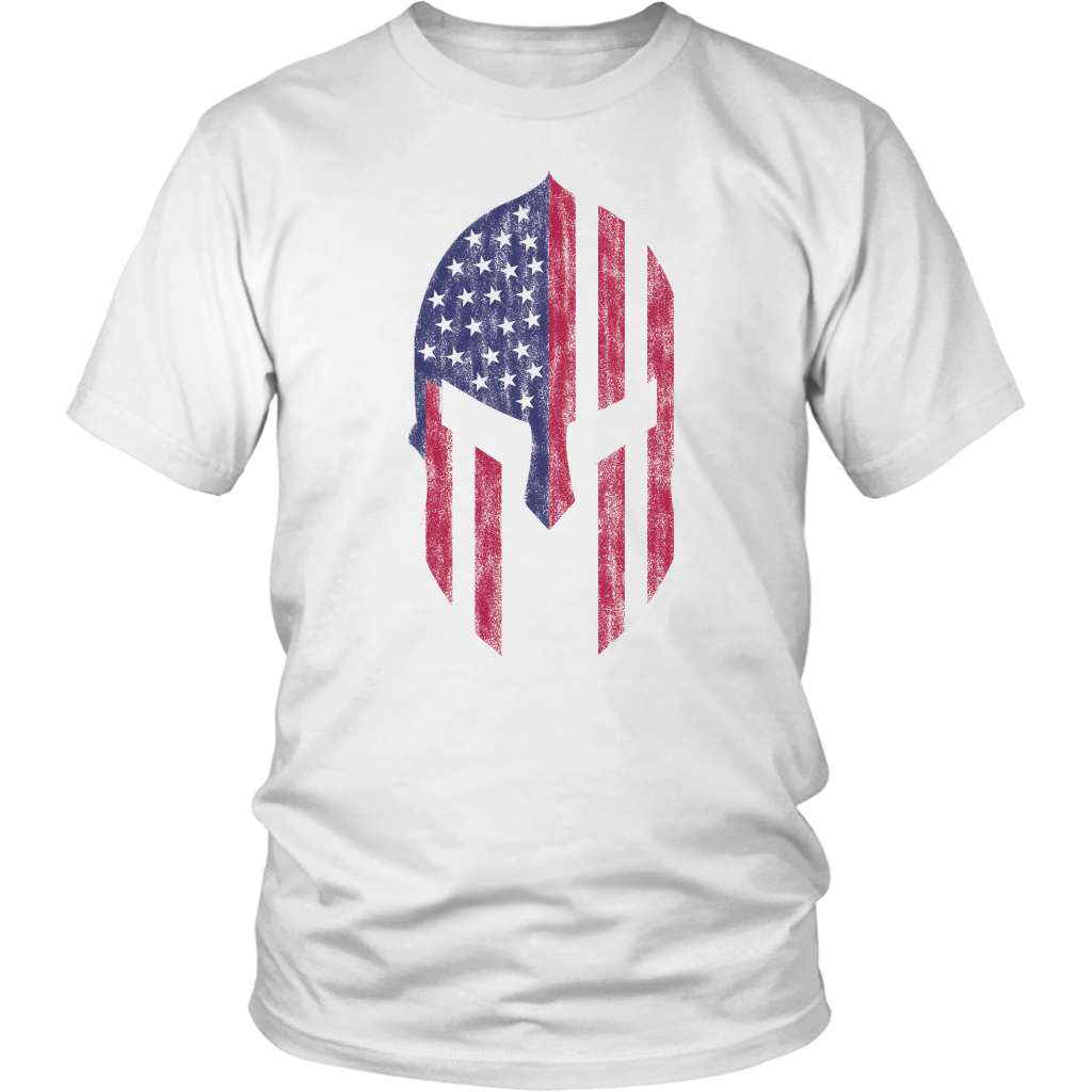 American Flag Spartan Warrior Patriotic T-Shirt