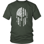 American Flag Spartan Warrior USA Patriotic Military Green Veteran T-Shirt