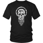 American Warrior USA Flag Patriotic Skull Military Men's T-Shirt
