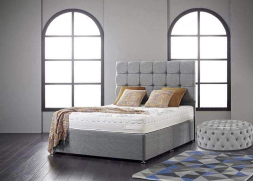 "Divan Base With 24"" Cube Headboard"