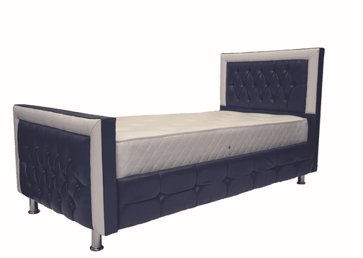 Blue Sleigh Bed – Leather Faux