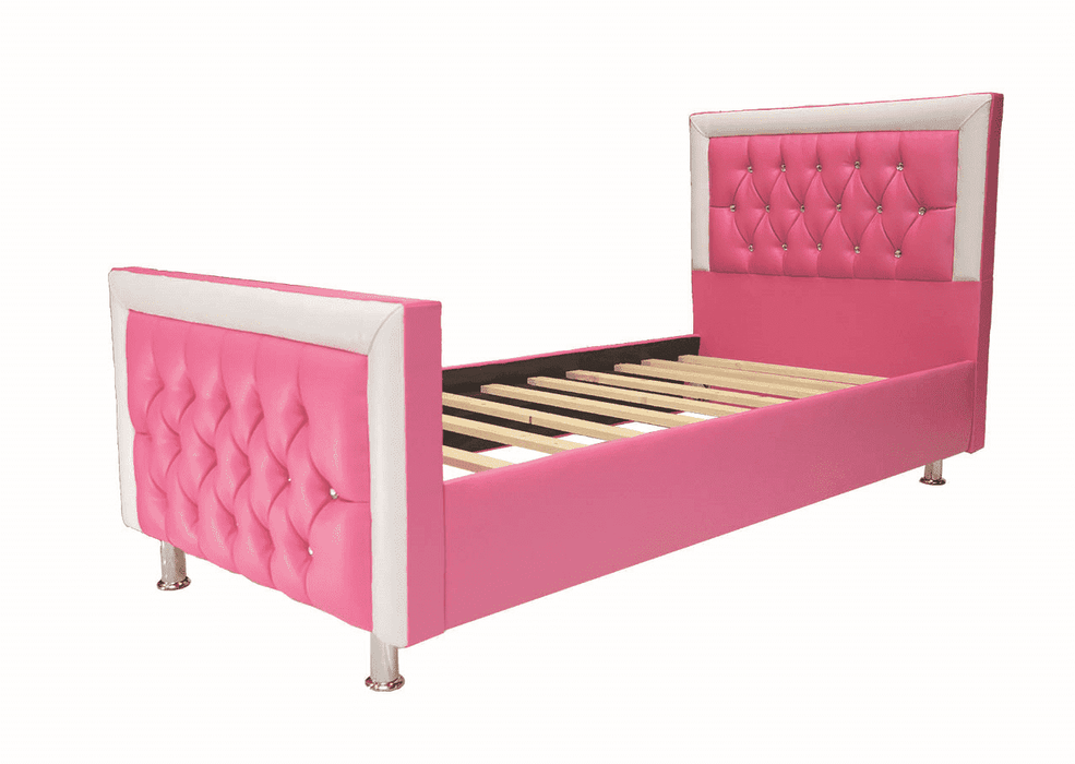 Pink Sleigh Bed – Leather Faux
