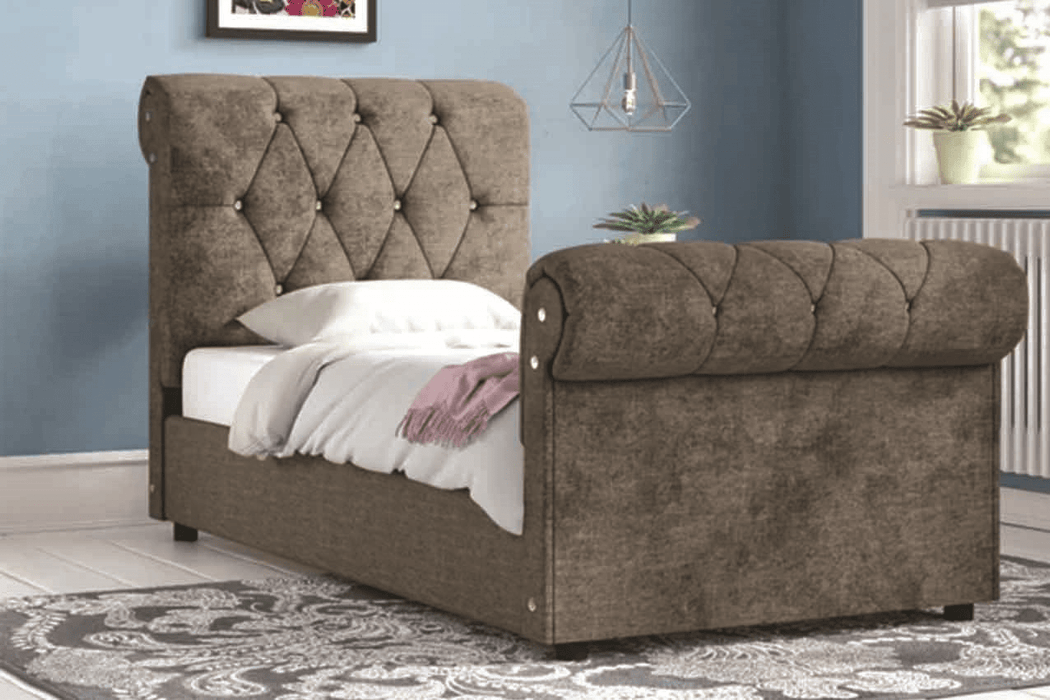 Fancy Upholstered Sleigh Bed Frame