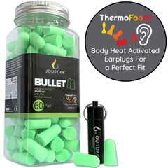 Jourdak EarMine ThermoFoam (Green) - 60 Pairs Earplugs with waterproof travel case