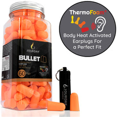 Jourdak EarMine ThermoFoam (Orange) - 60 Pairs Earplugs with waterproof travel case