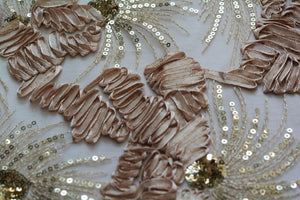 Champagne Ribbon Embroidery Lace