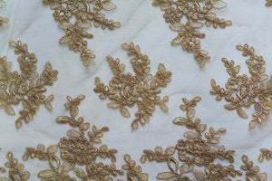 Sandalwood Metallic Gold Embroidery Lace