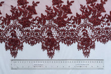 Load image into Gallery viewer, Burgundy Embroidery lace with Guipure Border trim
