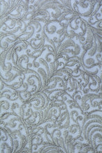 Load image into Gallery viewer, Swirling Quill Grey Embroidery Lace