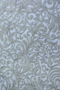 Swirling Quill Grey Embroidery Lace