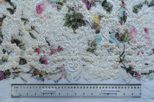 Rose,  Juniper and Sky Blue Embroidery Lace