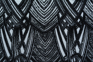 Woodsmoke Black Art Deco Lace