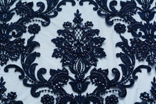 Load image into Gallery viewer, Cloud Burst Blue Damask Design Lace