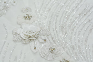 Hand-Beaded White Lace Flower Blossoms