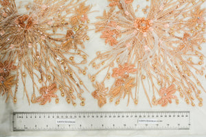 Hand-Beaded Burnt Sienna Lace Wildflower