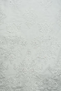 Silvery Beaded Lace with Large Damask Design